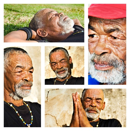 apartheid: Senior African man - collage with different portraits. Stock Photo