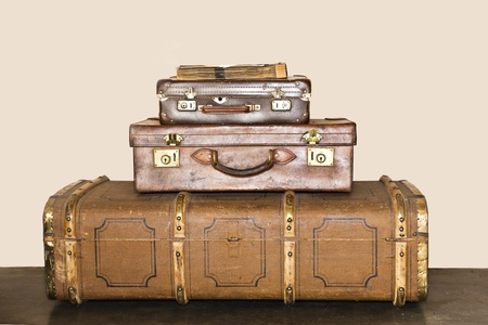 Old suitcases stacked up