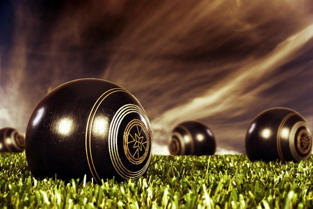 cut the competition: Close up of bowling balls on an open bowling field Stock Photo