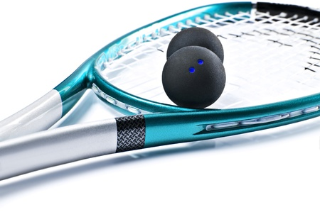 racquet: Blue squash racket with balls on white background