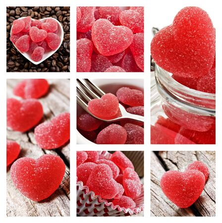 Collage of red heart shaped jelly sweets