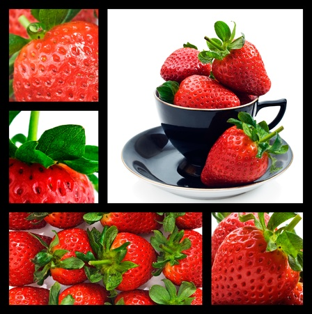 Strawberry collage - ripe fresh strawberries photo