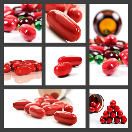 Collage of a variety of red pills on a white background Stock Photo - 10072479