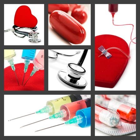 heart surgery: Medical collage with syringes stethoscope and pills