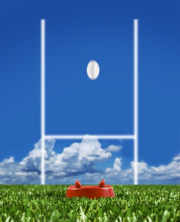 Rugby ball kicked to the posts on a rugby field showing movement