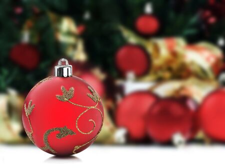 Christmas decorations under a christmas tree with space for text Stock Photo - 10535262