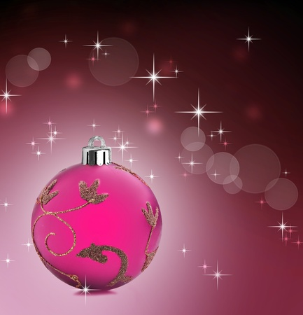 Colorful pink christmas baubles balls with colorful background photo