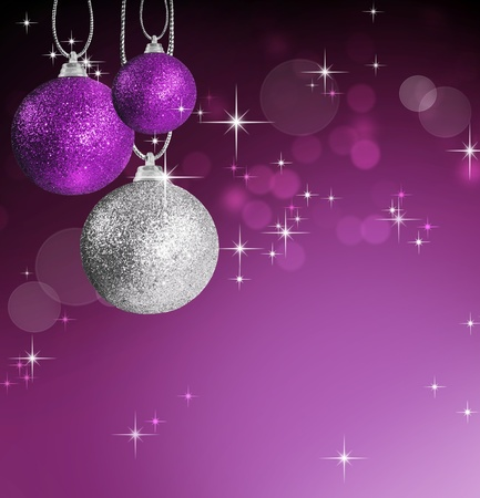 Colorful pink and silver christmas baubles balls with colorful background photo