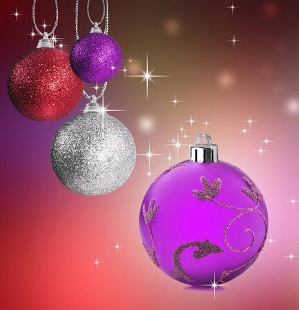 Colorful pink silver and red christmas baubles balls with colorful background photo