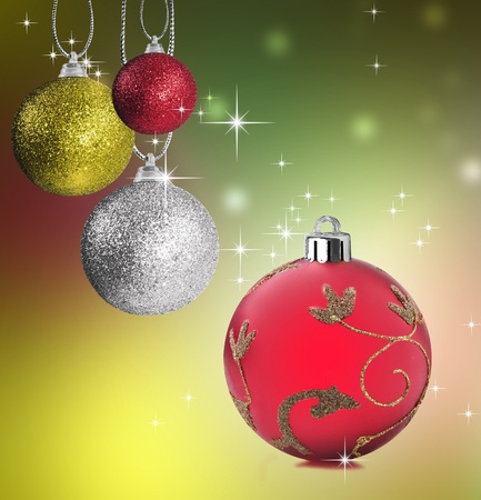 silver balls: Colorful red green and silver christmas baubles balls with colorful background Stock Photo