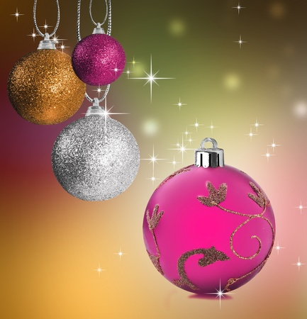 christmas golf: Colorful pink golf snf silver christmas baubles balls with colorful background