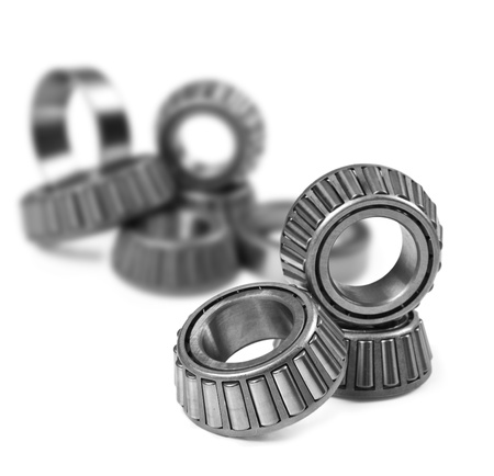 Ball bearings on a pure white background with space for text photo