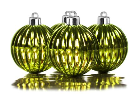 Green christmas decoration baubles on white background Stock Photo - 10786391