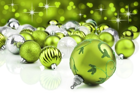 Green christmas ornament baubles with star background