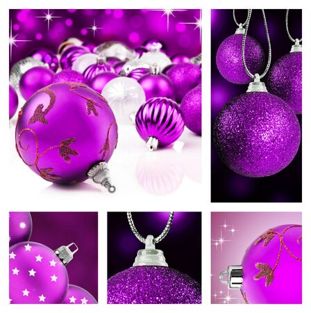Collage of purple  christmas decorations on different backgrounds with copy space photo