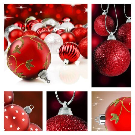 christmas religious: Collage of red christmas decorations on different backgrounds
