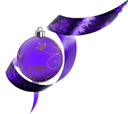 Decorative border made of purple ribbon swirls on white Stock Photo