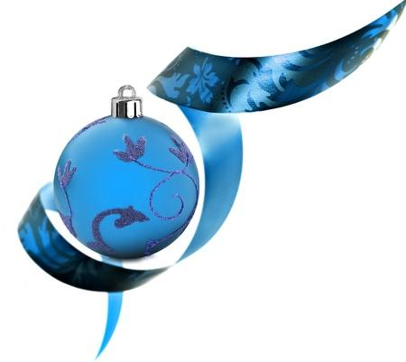 Decorative border made of blue ribbon swirls on white Stock Photo - 11155662