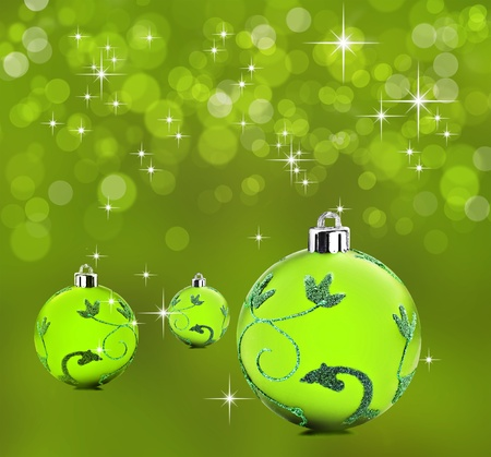 Green christmas background with decorative bauble balls Stock Photo - 11155670