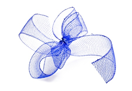 Blue ribbon bow on a white background with space for text photo