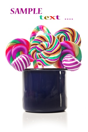 Sugar candy lollipop collection on white Stock Photo - 12879158