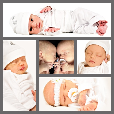 Collage of new born twins photo