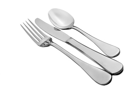 knife and fork: Cutlery - fork knife and spoon on white Stock Photo