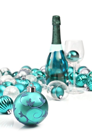 blue christmas ornaments with wine stock photo 15684579