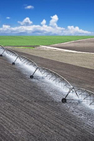 Farm field with modern irrigation system water a newly planted field Standard-Bild