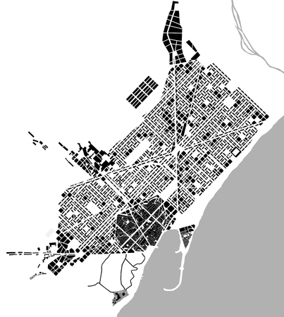 historical map of the city center of Barcelona, Spain