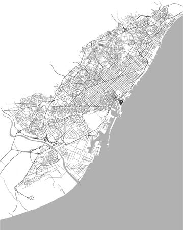 map of the city center of Barcelona, Spain