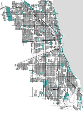 map of the city of Chicago, USA