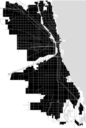 Map of the city of Chicago, USA Illustration