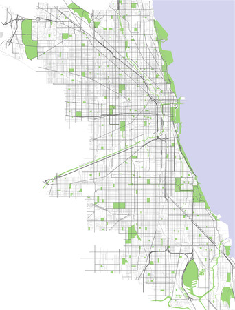 Vector Street Map Of Downtown Chicago Illinois Royalty Free