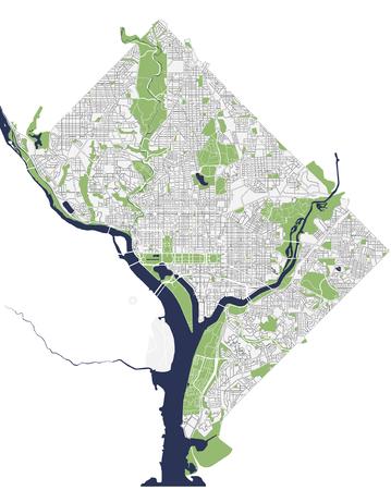 미국 워싱턴 DC의 도시지도 일러스트