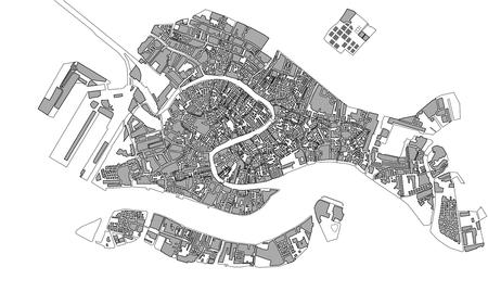 Mapa vectorial de la ciudad de Venecia, Italia