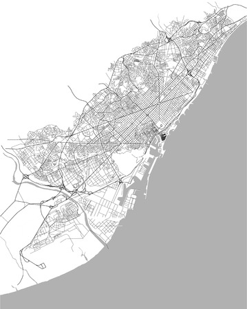 map of the city center of Barcelona, Spain atalonia