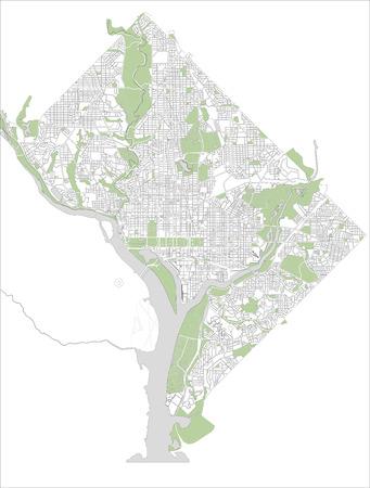 워싱턴 DC, 미국 도시의 그림지도 스톡 콘텐츠