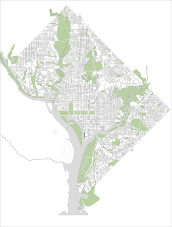 illustration map of the city of Washington D.C., USA Stock Photo