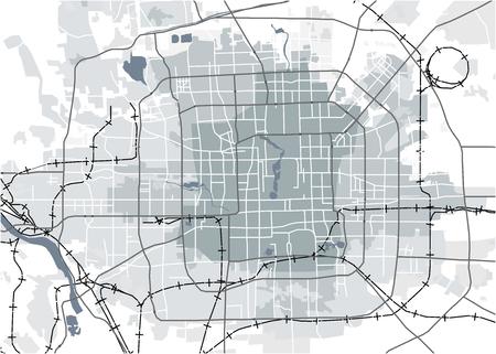 illustration map of the city of Peking, China