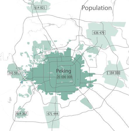 illustration map of the city of Peking population, China Reklamní fotografie - 76935879