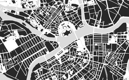 Kaart van het centrum van Sint-Petersburg zwart-wit
