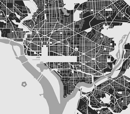 vector map of the city of Washington D.C., USA Ilustração
