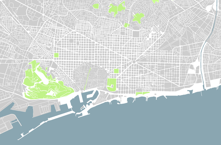vector map of the city of Barcelona, Spain Иллюстрация