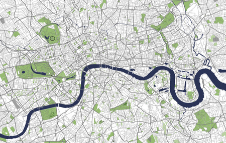 Vector map of the city of London, Great Britain Vectores