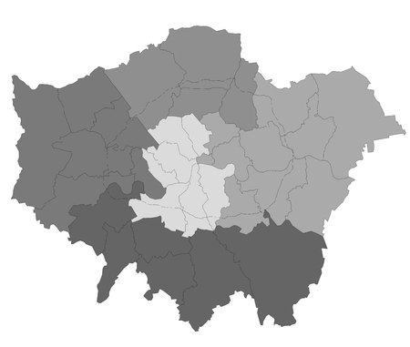 britannia: vector map of the city of London, Great Britain