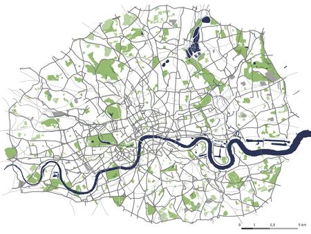 Mapa vectorial de la ciudad de Londres, Gran Bretaña