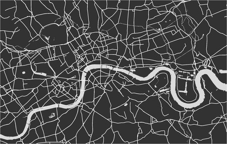 Vector map of the city of London, Great Britain Stock Illustratie
