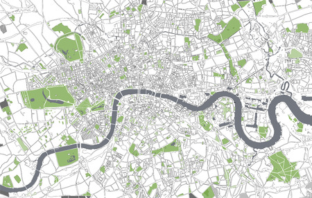 Vector map of the city of London, Great Britain Ilustrace