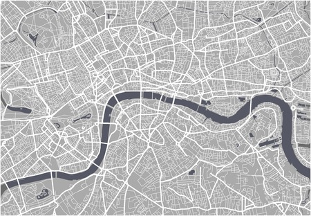 Vector map of the city of London, Great Britain 矢量图像